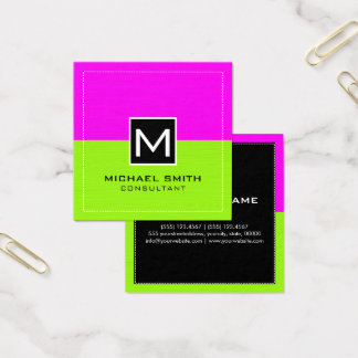 Professional Monogram Modern Lime Magenta Square Business Card
