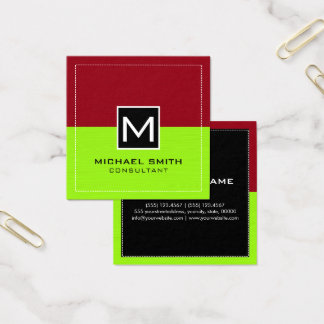 Professional Monogram Modern Lime Maroon Square Business Card