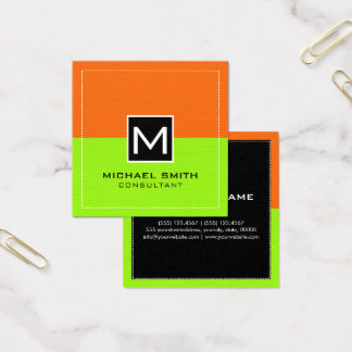 Professional Monogram Modern Lime Orange Square Business Card
