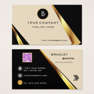 Professional Monogram QR Code  Bold Black and Gold Business Card
