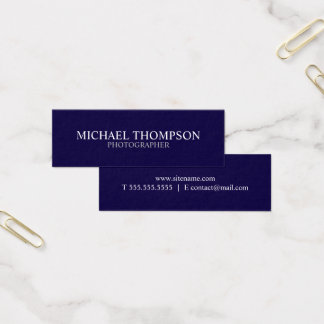 Professional Navy Blue and White Mini Business Card