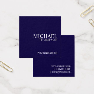 Professional Navy Blue and White Square Business Card
