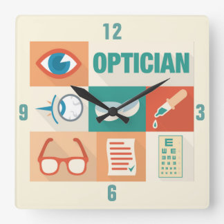 Professional Optician Iconic Design Square Wall Clock