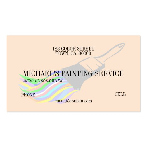 Professional Painting Service Business Card Template