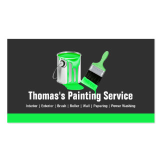 Professional Painting Service  Green Painter Brush Pack Of Standard Business Cards