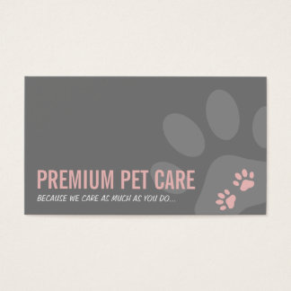 PROFESSIONAL PAW PRINTS pet care cute pink grey Business Card