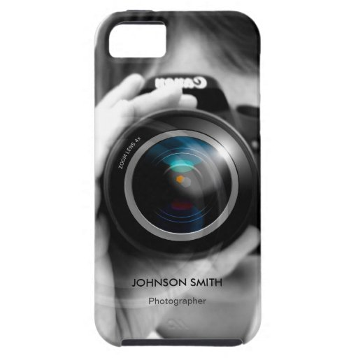 Professional Photographer Camera Lens Black White iPhone 5 Covers
