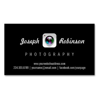 Professional Photography Camera Lens Logo Symbol Magnetic Business Cards