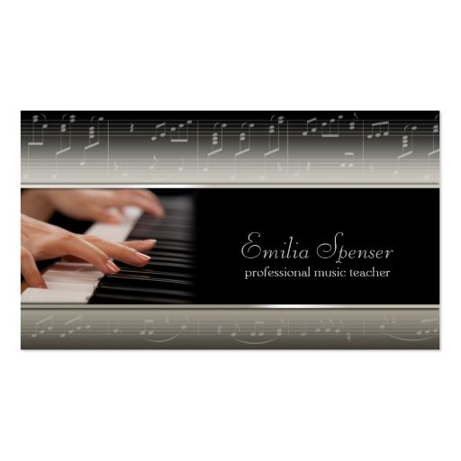 Professional Piano Music Teacher Card Business Card Template