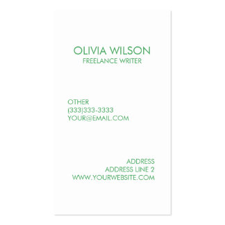 Professional Plain Clean Green and White Pack Of Standard Business Cards