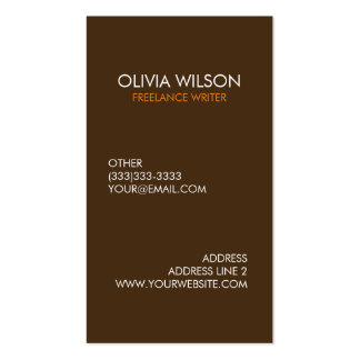 Professional Plain Dark Brown and Orange Pack Of Standard Business Cards