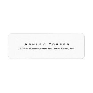 Professional Plain Elegant Modern Black & White Return Address Label