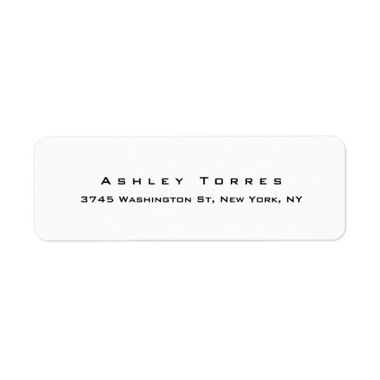 Professional Plain Elegant Modern Black & White Return Address Label