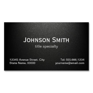 Professional Plain Matte Black - Simple Stylish Magnetic Business Cards