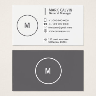 Professional Plain Simple Grey and White Business Card