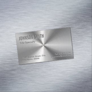 Professional Plain Sliver Radial Metallic Look Magnetic Business Card