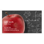 Professional Red Apple & Chalkboard Math Tutor Pack Of Standard Business Cards