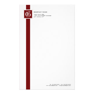 Professional Red, Black & White Stripe Monogram Stationery Paper