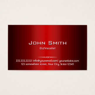Professional Red Metal DJ Music Business Card