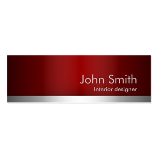 professional Red Metal Interiors Business Card