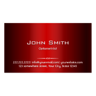 Professional Red Metal Optometrist Business Card