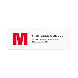 Professional Red White Monogram Modern Unique Return Address Label