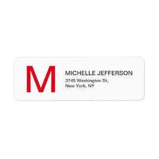 Professional Red White Monogrammed Modern Plain Return Address Label