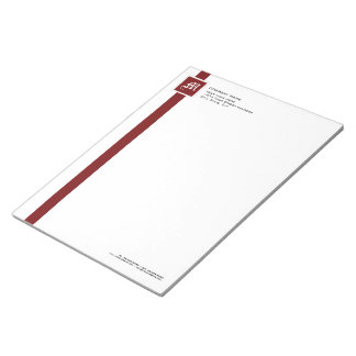 "Professional Red & White Stripe Monogram 11"" x 8 Notepad"