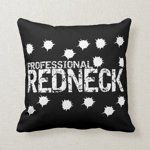 Professional Redneck Bullet Hole Throw Pillow
