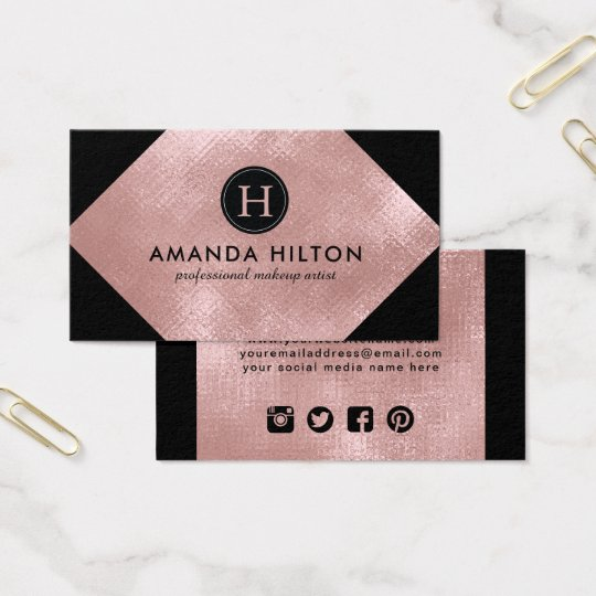 Professional Rose Gold Business Card Template