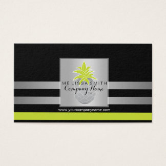Professional silver & turquoise pineapple business business card