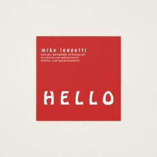 Professional Simple Bold Red HELLO Minimalism Square Business Card