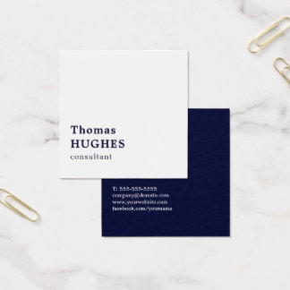 Professional Simple Elegant Blue White Consultant Square Business Card