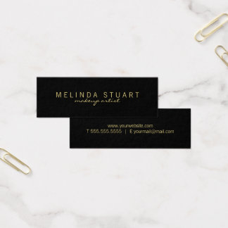Professional Simple Modern Black and Gold Mini Business Card
