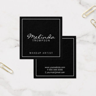 Professional Simple Modern Black and White Square Business Card