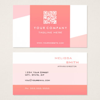 Professional Simple  QR Code Coral Geometric Business Card