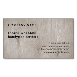 Professional Simple Wooden Floor Handyman Magnetic Business Card