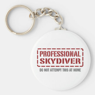 Professional Skydiver Basic Round Button Key Ring