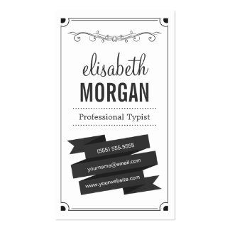 Professional Typist - Retro Black and White Business Card Templates