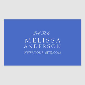 Professional Typography Cerulean Blue Rectangular Sticker