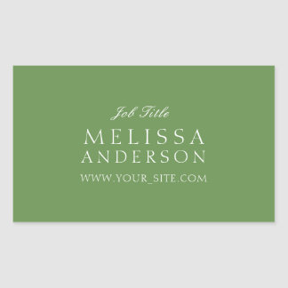 Professional Typography Moss Green Rectangular Sticker