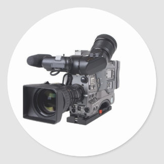 professional video camera classic round sticker