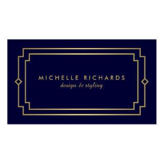 Professional Vintage Art Deco Elegant Gold, Navy Pack Of Standard Business Cards