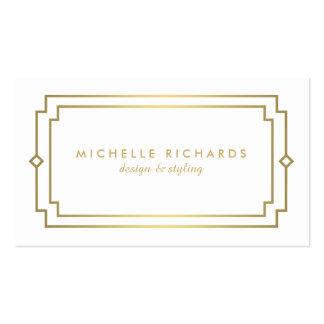 Professional Vintage Art Deco Elegant Gold, White Pack Of Standard Business Cards