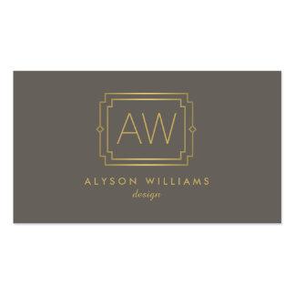 Professional Vintage Art Deco Elegant Taupe/Gold Pack Of Standard Business Cards