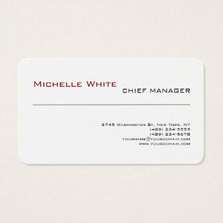 Professional White Simple Plain Modern Minimalist Business Card