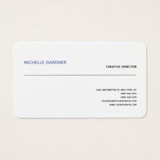 Professional White Trendy Plain Modern Minimalist Business Card