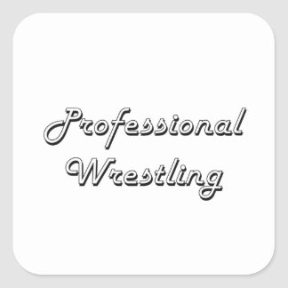 Professional Wrestling Classic Retro Design Square Sticker