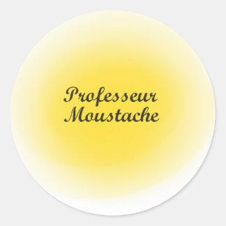Professor moustache classic round sticker