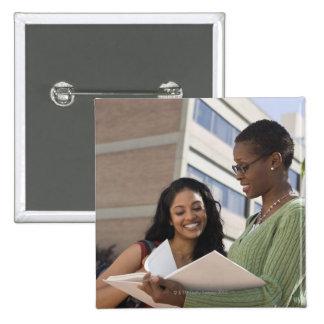 Professor with student 15 cm square badge